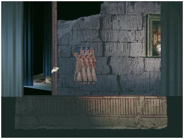 Von rechts können Bühnenbilder auf die Bühne gezogen werden, um in die unterschiedlichen Kapitel zu gelangen. Dieser Vorgang dient auch als Vorschau zum jeweils gewählten Thema.