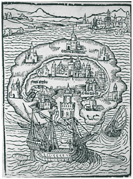 ›Thomas Morus' Utopia‹ (Virgilio Vercelloni, Europäische Stadtutopien. Ein historischer Atlas, Berlin 1986, Tafel 53).