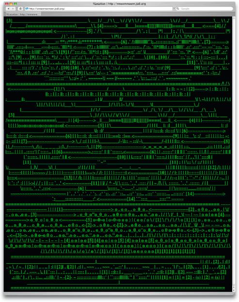 Die Übergänge von Screen- und Interfacedesign sind hier fließend und lassen sich nicht mehr klar trennen. Jedes einzelne Zeichen kann ausgewählt werden und führt zu einer verlinkten Seite. Die Internetseite http://wwwwwwwww.jodi.org ist eine Arbeit des holländisch-belgischen Künstlerduos JODI (Joan Heemskerk, Dirk Praesmans).