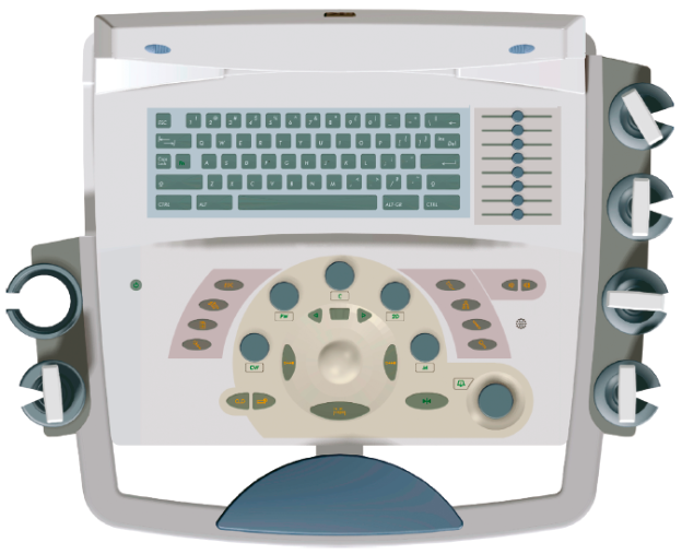 Die Bedienelemente des modularen Ultraschalldiagnosegerätes Imagic sind für eine Einhandbedienung optimal um den zentralen Trackball angeordnet. Häufig getätigte Einstellungen werden direkt über entsprechende Pushand Turnbuttons bedient.