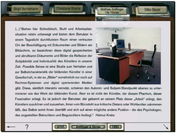Karteikasten-Reiter-Prinzip bei der CD-ROM ›Klasse Kamp 1995/2005, Kunstakademie Düsseldorf‹ von Prof. Ute Hörner und Marthias Antelfinger.