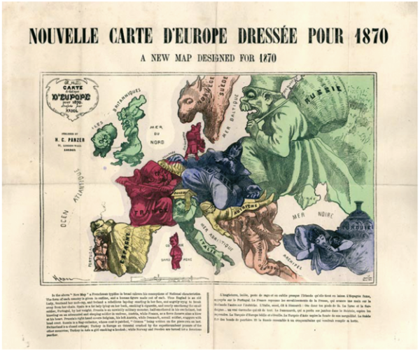 ›Nouvelle Carte D'Europe Dressee Pour 1870‹ (Illustrator: Paul Hadol bzw. Joseph Goggins; Kartenherstellung: H.C. Panzer, London, 1870).