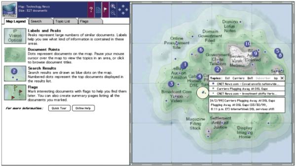 Diese Landkarte, hier mit der Cartia ThemeScape Technology erstellt, zeigt die Anhäufung von Dokumenten zum angegebenen Begriff und seine Bezüge zu anderen Inhalten.