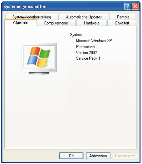 Karteikasten-Reiter-Prinzip beim PC Betriebssystem Windows XP Pro.