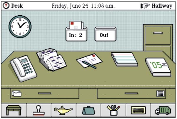 Magic Cap ist ein Betriebssystem für mobile Geräte (hier: Magic Cap for Windows aus dem Jahr 1995).