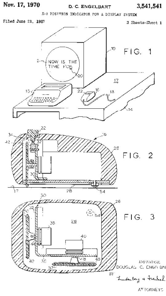 Patentschrift zur Computer-Maus von Douglas C. Engelbart, 1970.