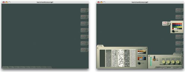 Digitale Rekonstruktion der Original-Konstruktionsorgel von Làszló Moholy-Nagy. Ein Menü kann viele Formen haben. Wenn es von einem Register aus ausgewählt wurde, muss sich nicht zwangsläufig eine Auflistung mit Thementiteln aufklappen. Die Abbildung zeigt eine Hommage nach einem Entwurf aus dem Jahr 1938. Erstellt wurde die Rekonstruktion von den Designstudenten Thomas Loschen und Guido Raschke des Fachbereich Gestaltung der FH Bielefeld, betreut durch Prof. Karl Müller (siehe auch unter ›Komposition‹ im Kapitel ›Gestaltungslayout‹).