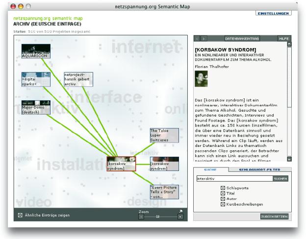 Die ›Semantic Map‹ von http://netzspannung.org dient zur Erschließung und Verwaltung von archivierten Informationen und bietet sowohl Anfängern als auch Experten alle erforderlichen Werkzeuge zur Kategorisierung.