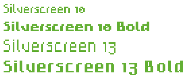 Screenfonts, auch Pixelschriften genannt, sind jeweils für die passende Schriftgröße entwickelt. Das heißt, eine 8-Punkt- Schrift ist für diese Größe bzw. für ein Vielfaches dieser Größe bestimmt. Zur Darstellung muss das Antialiasing ausgeschaltet sein. Silverscreen von Alex Schumacher, © 2005 www.typotaurus.de