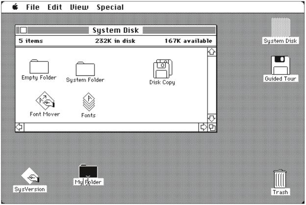 Mac OS 1.1 aus dem Jahr 1983.