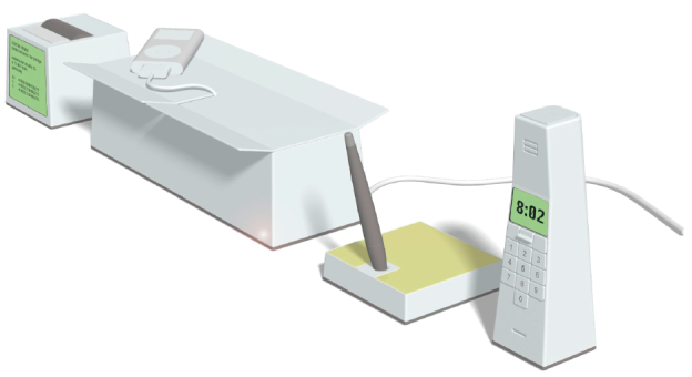Desk Tools (v.l.n.r.): Filo Box – digitales Visitenkartenregister mit integriertem Scanner, Just a Box – Aufbewahrung mit semitransparentem Deckel, Note Pad – digitaler Notizblock mit intelligentem Toch-Pad, Power Box – Ladestation mit integriertem Kabelmanagement, Phone – Tischtelefon mit integriertem Telefonbuch