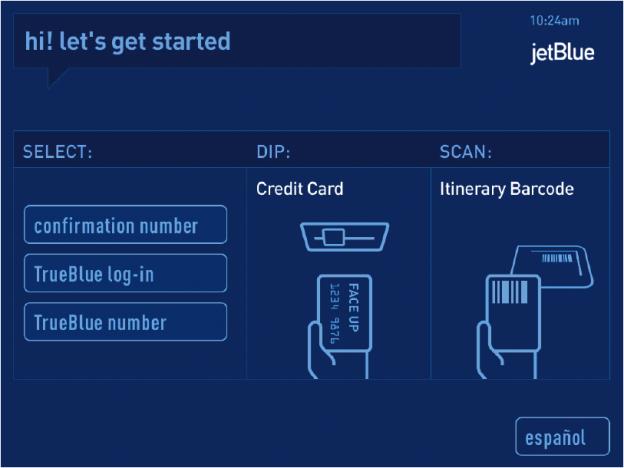 JetBlue Check-in-Terminal (Industrial-, Screen- und Interfacedesign: Masamichi Udagawa, Sigi Moeslinger; Antenna Design New York Inc.; Foto: Ryuzo Masunaga).