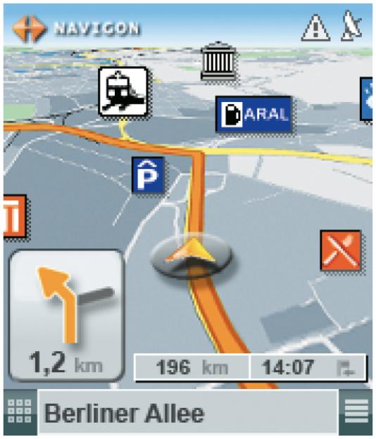 Landkartendarstellung für Smartphones mit Landmarks, die der Orientierung dienen können oder auf gezielte Suchkriterien verweisen (www.navigon.com).
