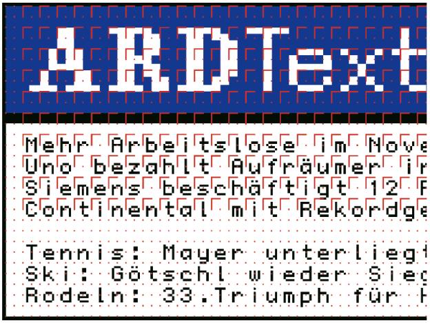 Das Raster für eine Videotextseite muss sich den besonderen Eigenschaften des Fernsehmonitors unterwerfen. Ein Teletext-Pixel ist nicht quadratisch, sondern besteht aus 3 × 2 Sub-Pixel. Die Darstellungsfläche einer Videotextseite ist in 24 Zeilen mit jeweils 40 Zellen eingeteilt. Videotext-Seiten werden mit einer Auflösung von 320 × 240 Pixel bei 38,1 dpi (15 Pixel/cm) angelegt. Eine Zelle hat dann die Ausmaße von 8 × 10 Pixel. Leiterin: Sabine Wahrmann; www.ard-text.de; Gestaltung: avero, Berlin; www.avero.de).