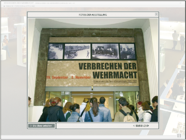 DVD-ROM Produktion zur Ausstellung ›Verbrechen der Wehrmacht‹, 2004. Konzeption: Hamburger Institut für Sozialforschung (www.his-online.de); Sustainable Media, Hamburg (http://sustainable-media.weebly.com); triplenine dynamic media GmbH, Hamburg (www.triplenine.com).