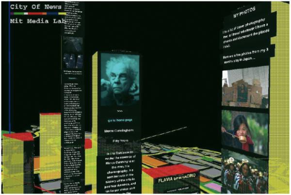 Information Landscapes wie diese vermitteln eher eine vertraute Umgebung als es Info Maps bzw. Info Spaces können, da deren Darstellung abstrakter sind. Die Abbildung zeigt ein 3D Information Browsing System, entwickelt von Flavia Sparacino am MIT Media Lab. Zur Orientierung wird hier die Metapher einer Stadt verwendet. Der erste funktionsfertige Prototyp von ›City of News‹ wurde April 1996 vorgestellt. Damals hieß das Projekt noch ›NetSpace‹.