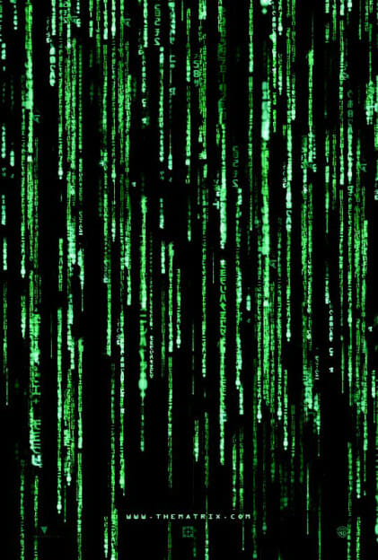 Dieses Beispiel zeigt, dass einige Orientierungssysteme Vorkenntnisse erfordern. Im Film ›The Matrix‹ wurde 1999 die Wahrnehmung der Welt als Info Map dargestellt (DVD-Vertrieb: Warner Bros. Entertainment Inc.; Regie und Drehbuch: Andy und Larry Wachowski).