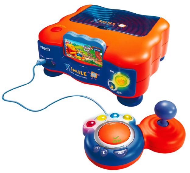 Auf Grund des einfachen Funktionsprinzips eignet sich der Joystick auch für Kinderspiele. V.Smile ist eine Lernkonsole für drei- bis achtjährige. Mit V.Smile wird der Fernseher zum interaktiven Lernmedium (Foto: © Vtech, www.vtech.com).