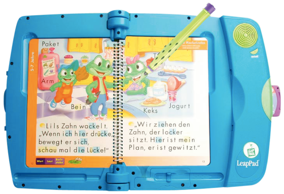 Digitales, interaktives Spielzeug aus Kinderbuch und Kunstoffgehäuse.
