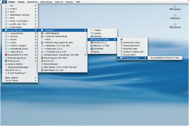 Pull-Down-Nenü, Mac OS X.