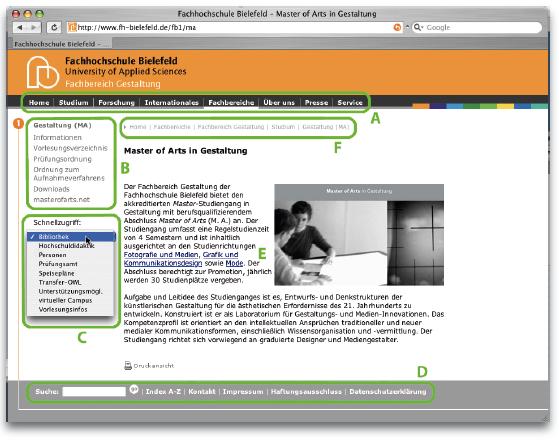 Typische Navigationsformen für Internetseiten, hier am Beispiel der Internetseite der FH Bielefeld, www.fh-bielefeld.de