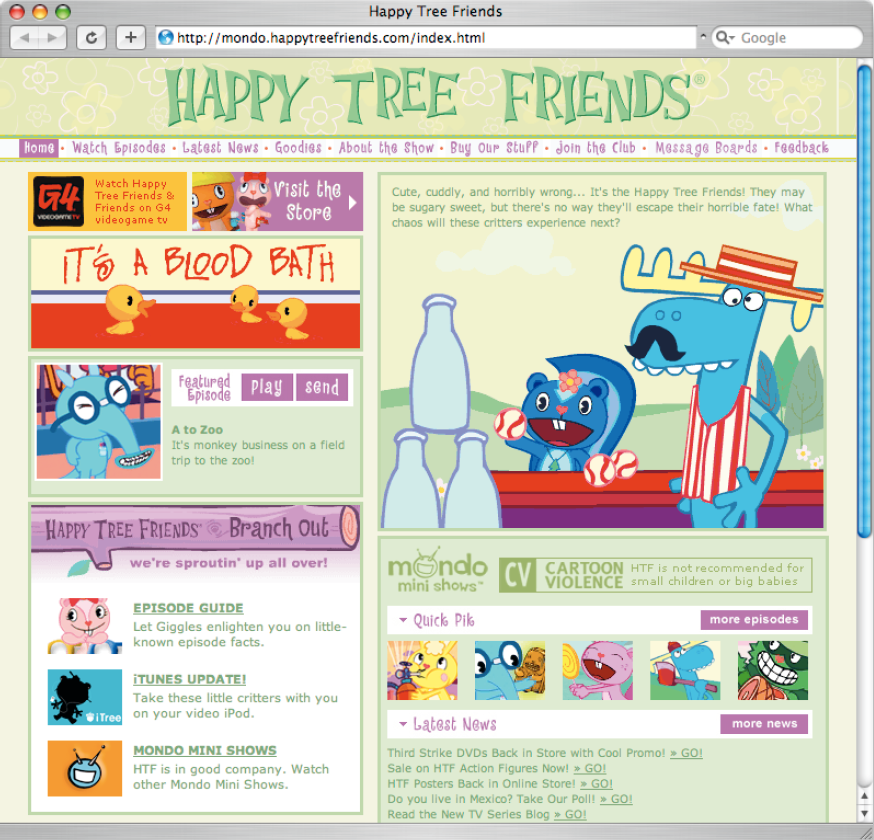 Screenshot der Website Happy Tree Friends.