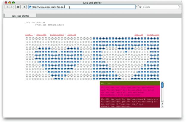 Bei dieser Internetseite werden funktionale Elemente für die formale Gestaltung eingesetzt, die dem Anwender sogar eine interaktive Einflussnahme auf das Dargestellte bieten (www.jungundpfeffer.de).