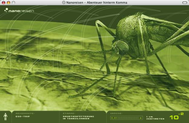 Diese im Internet publizierte Reise in den Mikro- und den Nanokosmos zeigt, wie sehr Screendesign die Wissensvermittlung begünstigen kann, wenn dadurch auf das Wesentliche fokussiert, aber auch Interesse geweckt und befriedigt werden kann (www.nanoreisen.de).