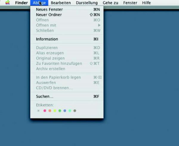 Pulldown-Menü von oben (C), beim Mac OS X Betriebssystem.