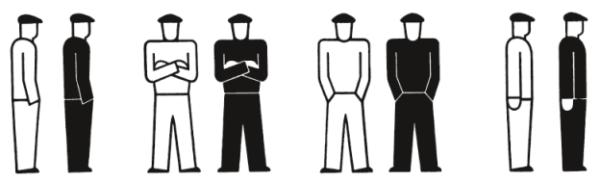 Der Arbeiter ist erkennbar durch seine Schirmmütze. Hände in den Hosentaschen = arbeitslos, verschränkte Arme = streikend, Hände an der Hosennaht = angestellt.
