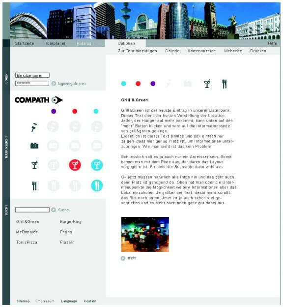 Das Funktionslayout der Internetseite des Cityguide ›Compath‹. Mit dieser Internetseite können Events und Veranstaltungen virtuell gesucht und mit einem PDA real gefunden werden. Dieses Projekt stammt von den Studenten Jochen Braun und Daniel Rieber, betreut wurde es von Torsten Stapelkamp an der FH Bielefeld.