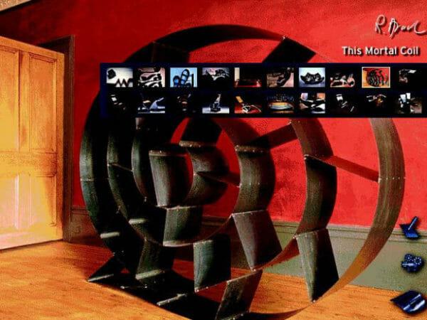 Pulldown-Menü, bei der CD-ROMProduktion ›Ron Arad interactive‹ von activ8 (Lino Wiehen, Torsten Stapelkamp, David Oswald). Dieses Pulldown-Menü fährt von rechts nach links ins Bild, sobald man oben rechts den Produktnamen mit der Computer-Maus berührt.