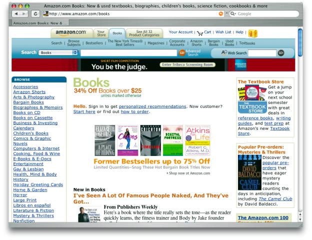 Das Unternehmen amazon.com erkannte die Grenzen des Karteikasten-Prinzips als Interface und führte einen Reiter für alle weiteren Kategorien ein, die über die Themen ›Amazon‹ und ›Your Store‹ hinausgehen. Bei dieser Abbildung wurde zuvor noch die Kategorie ›Books‹ ausgewählt.