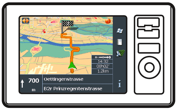 Screendesign für Navigationsgeräte (www.navigon.com).