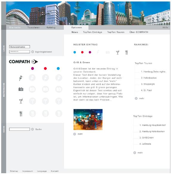 Über eine Matrix und mit Hilfe der drei Farbmarkierungen kann ein Suchprofil erstellt werden. Diese Internetseite ist Teil des studentischen Projekts ›Compath‹ von Jochen Braun und Daniel Rieber, betreut von Torsten Stapelkamp, FH Bielefeld.