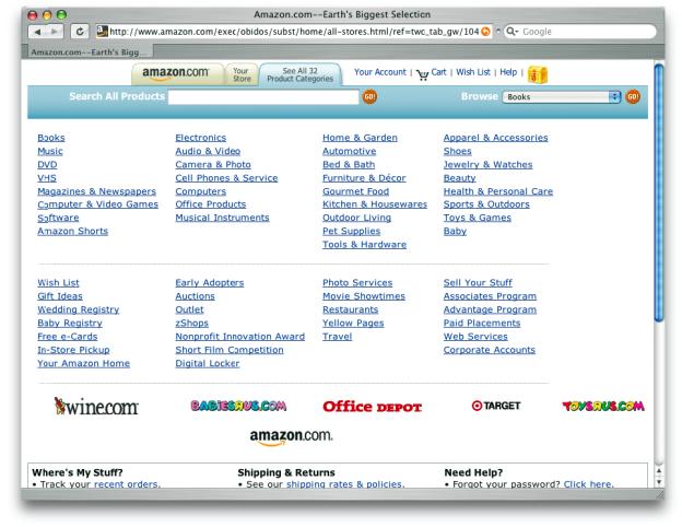 Wählt man in der Startseite von amazon.com den Reiter ›See all 32 Product Categories‹ aus, erhält man diese Internetseite.
