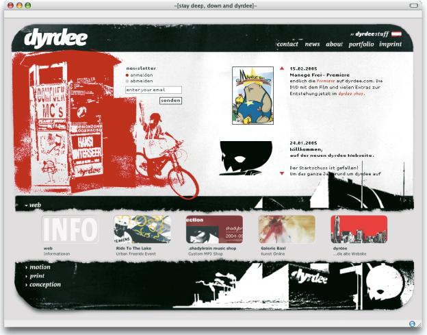 Bei dieser Internetseite öffnet sich das Pull-Down-Menü nicht nur mit Themenbegriffen, sondern zusätzlich mit Bildern. Auch wenn es nicht wie ein klassisches Pull-Down-Menü aussieht, beinhaltet es all seine Eigenschaften (www.dyrdee.com).