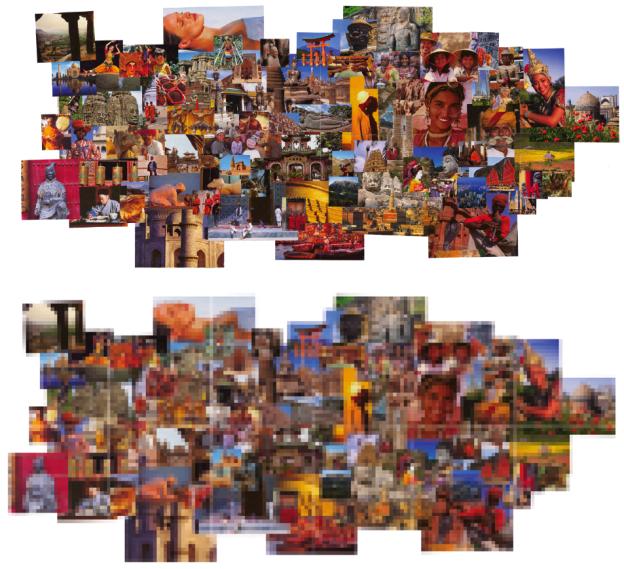 Dieses Moodboard wurde für das Projekt ›Passepartout‹ erstellt, um die Stimmung und Farben von Urlaub, Reisen und Fernweh zu vermitteln. Mit dem Vergröberungsfilter ›Mosaikeffekt‹ von Adobe Photoshop wurde die Collage gerastert und so die Schnittmenge der wesentlichen Farben ermittelt.