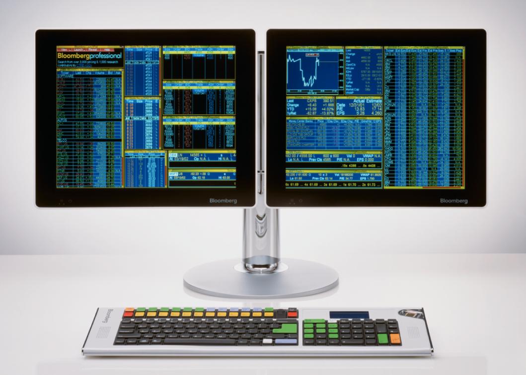 Abbildung eines Bloomberg-Terminal mit Doppel-Monitor und Tastatur.