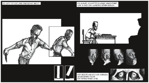 Die Leserichtung wird für die Doppelseite bereits durch die angedeutete Bewegungsdynamik von links nach rechts vorgegeben (›Eines Nachts‹; Comic-Buch und interaktive DVD; Diplomarbeit von Israfil Ceylan; Betreuung; Torsten Stapelkamp).