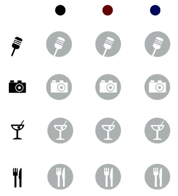 Piktogramme zur Darstellung von folgenden Angeboten: Livemusik, Sehenswürdigkeiten, Kneipe/Bar, Restaurant. Diese Piktogramme sind Teil einer Matrix mit deren Hilfe ein Suchprofil nach Zielgruppe und Angebot erstellt werden kann. Die Zielgruppenkategorien sind definiert mit ›jung‹ (blau), ›aktiv‹ (rot) und ›klassisch‹ (violett). Die Kategorien sind unabhängig vom Alter. Jeder Nutzer soll sich selbst einer der drei Kategorien zuordnen. Die Piktogramme funktionieren sowohl positiv als auch negativ und können auch in geringer Auflösung und Größe noch gut erkannt werden.