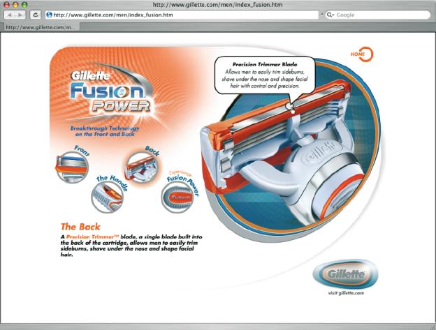 Visualisierung von Funktionen, hier am Beispiel einer interaktiven Infografik von Gillette Fusion Power (© Gillette, www.gillette.com).