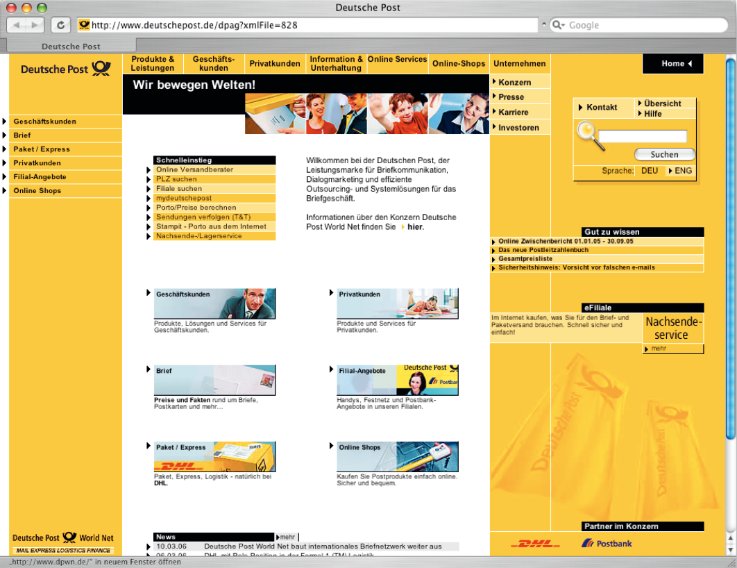 Screenshot der Website von der Deutschen Post.