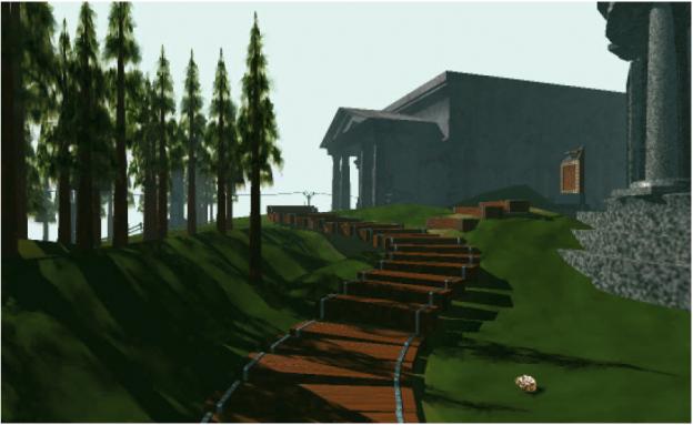 Abbildung aus dem Adventure-Game ›Myst‹ von 1993. Das Menü ist Teil der Erzählung und in den Abbildungen als Elemente integriert, z. B. als Papier am Wegesrand. Weitere Informationen zu Myst: www.myst.com und www.cyan.com.