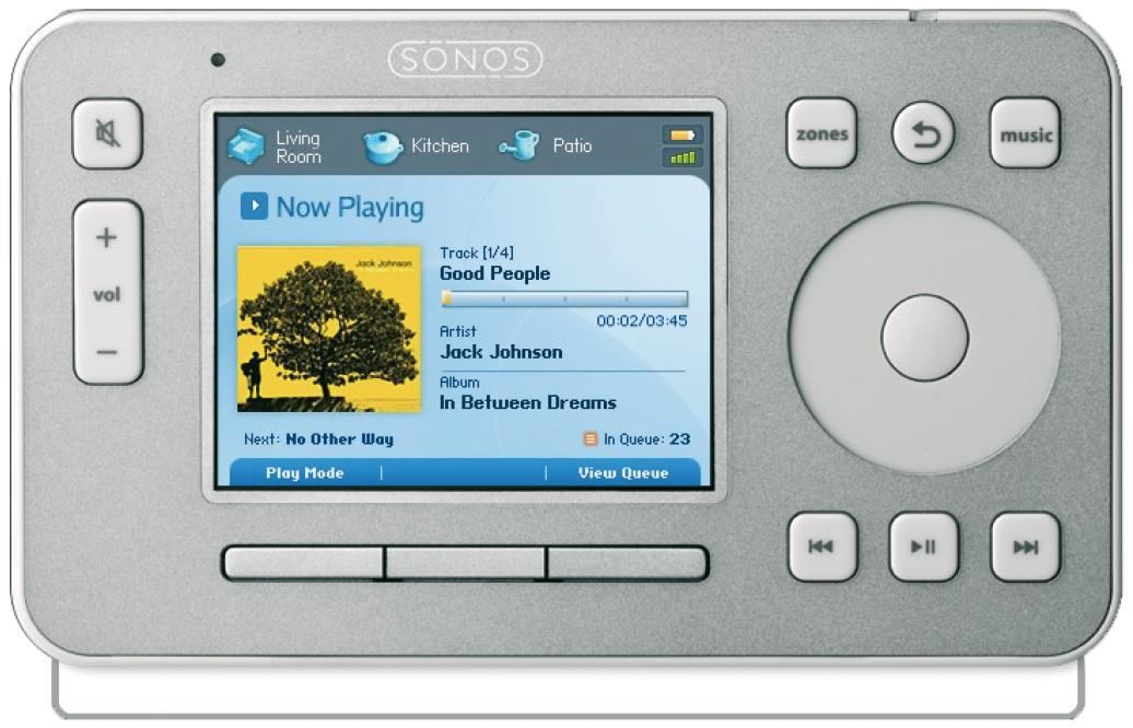 Das Gerät von Sonos zeigt Bunt-Unbunte-Kontraste im Display.