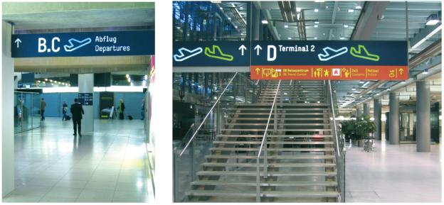 Leitsystem des Flughafens Köln.