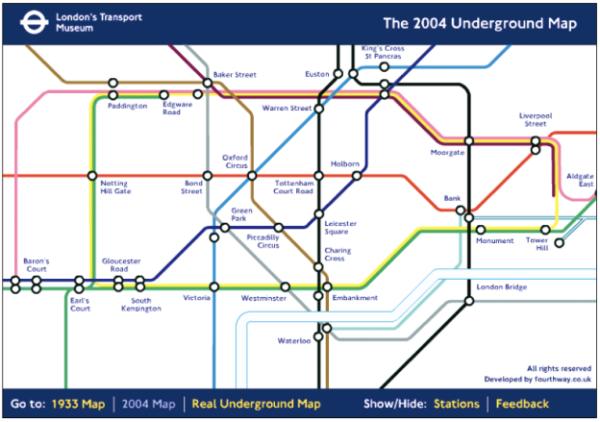 Diese drei Abbildungen zeigen Harry Becks Streckenverlaufsplan aus dem Jahr 1933, den Streckenverlaufsplan von 2004 und den tatsächlichen Verlauf der U-Bahn-Schienen und der Themse (http://tfl.gov.uk).