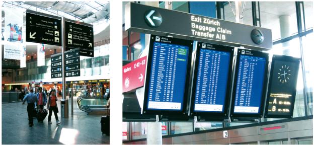Leitsystem des Flughafens Zürich.