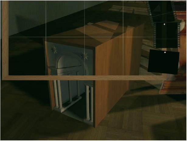 Durch das Herunterfahren dieses Menüs werden zwar auch nur zusätzliche Auswahlmöglichkeiten in weitere Unterkapitel ermöglicht, dies geschieht allerdings auf eine Weise, die den Erlebniswert dieser Interaktionsmöglichkeit steigert. Eine Abbildung aus der DVD-Video-Produktion ›Ansichtssache – Anamorphosen und Guckkästen‹ von Andrea Schreiber, entstanden am Fachbereich Gestaltung, FH Bielefeld, Betreuung: Torsten Stapelkamp.