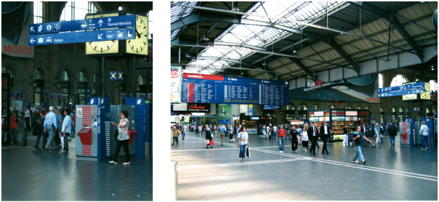 Leitsystem des Hauptbahnhofs Zürich.